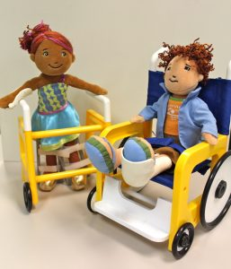 Small human puppets in wheelchairs to elicit discussions with children