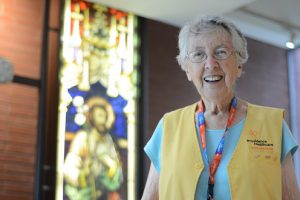 Joan Pape in a volunteer vest