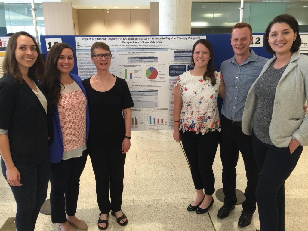 Nancy Salbach and her student research group in front of their Poster