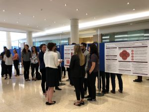 Students and Faculty admiring Posters