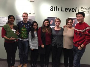 Lab Holiday Party, left to right: Gayatri, Matthieu, Shainy, Kainat, Nancy, Parvin, Darren