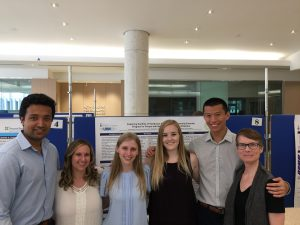 MScPT Research Day, left to right: Hammad, Stephanie, Olivia, Jessica, Anthony, Nancy